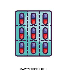 medical capsules blister icon, line color style