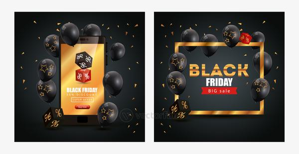 set poster of black friday and decoration