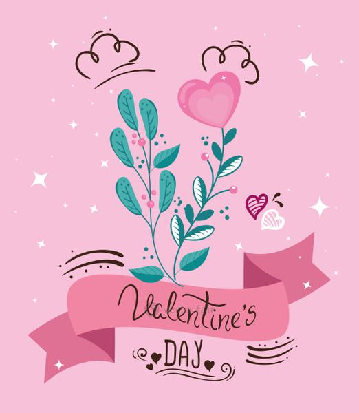 valentines day card with ribbon and leafs
