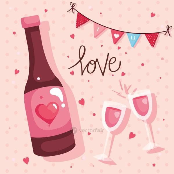 happy valentines day card with bottle wine and decoration