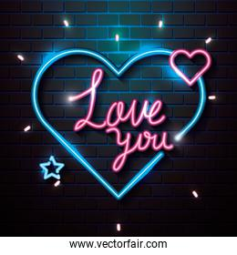 love you lettering of neon light