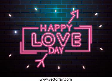happy love day lettering of neon light