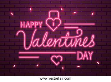 happy valentines day lettering of neon light