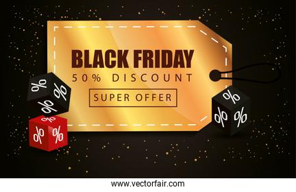 black friday poster with label and decoration