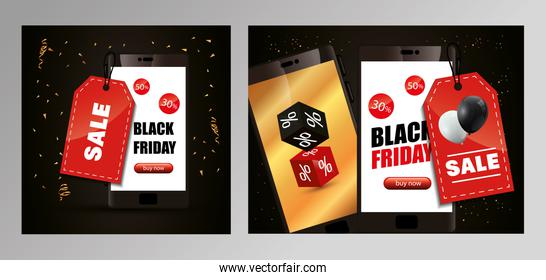set poster of black friday with smartphone and decoration