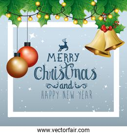 poster of merry christmas and happy new year with bell