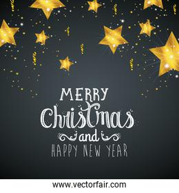 poster of merry christmas and happy new year with stars