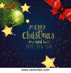 poster of merry christmas and happy new year with ball decoration