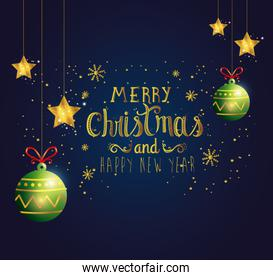 poster of merry christmas and happy new year with balls decoration