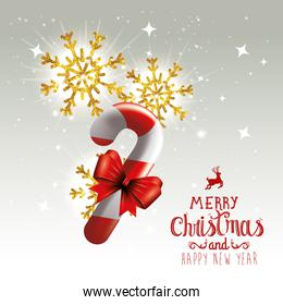 poster of merry christmas and happy new year with sweet cane