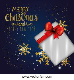 poster of merry christmas and happy new year with gift box