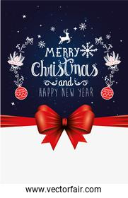 poster of merry christmas and happy new year with decoration