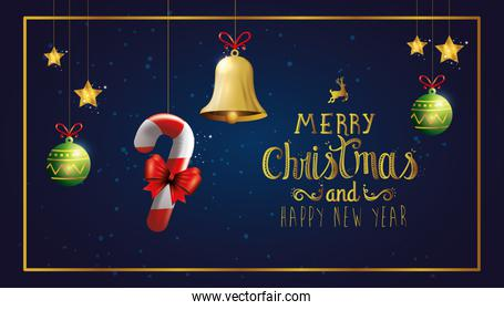 poster of merry christmas and happy new year with decoration hanging