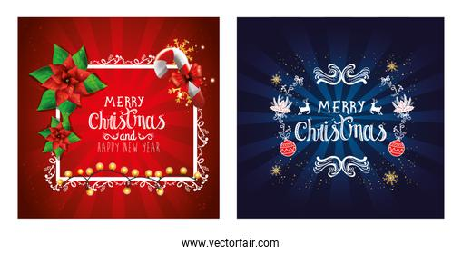 set poster of merry christmas and happy new year with decoration