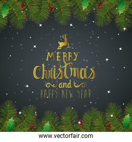 poster of merry christmas and happy new year with leafs