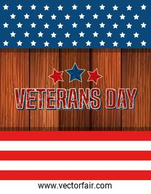 veterans day celebration with stars in wooden background