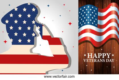 set of poster veterans day with decoration
