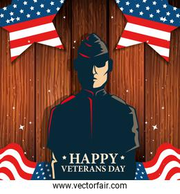 happy veterans day celebration with military and flag in wooden background