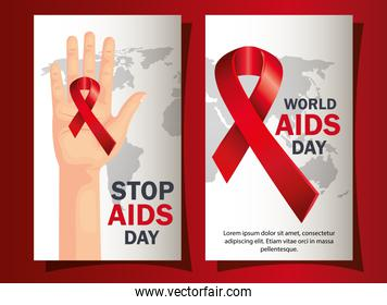 set poster of world aids day with decoration