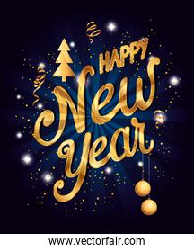 poster of happy new year with decoration