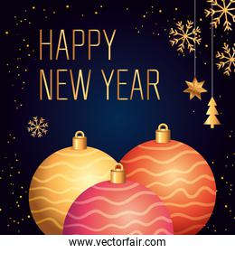 poster of happy new year with balls decoration