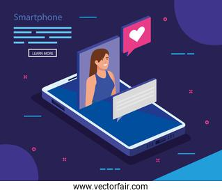 Woman with isometric smartphone vector design