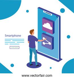 Man with isometric smartphone vector design