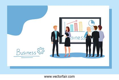 business people meeting with infographics presentation