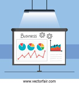 paper board with infographic isolated icon
