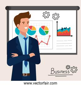 businessman elegant with infographic presentation