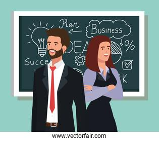 business couple and chalkboard with business plan graphics