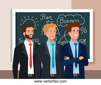 business men and chalkboard with business plan graphics