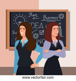 business women and chalkboard with business plan graphics