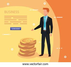 businessman with pile coins avatar character