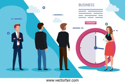 meeting of business people with clock