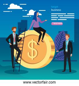Coin and businesspeople with ladder vector design