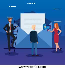 Envelope message and people vector design