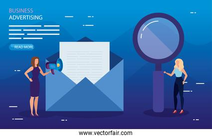Envelope lupe and people vector design