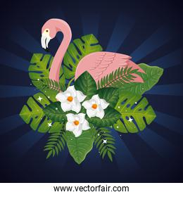 flamingo pink animal with leafs and flowers