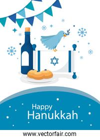 happy hanukkah with flag israel and icons