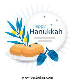 happy hanukkah with olive branch and icons