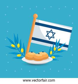 flag israel with olive branches and round breads