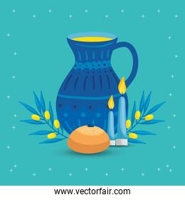 teapot with bread and candles
