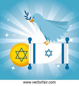 flag israel and bird olive branch