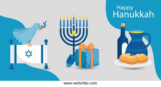happy hanukkah with chandelier and icons