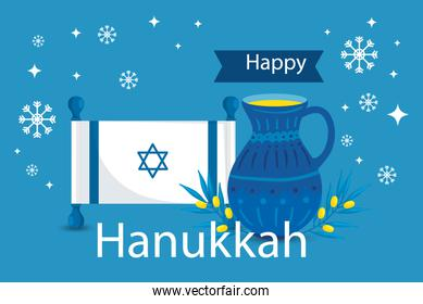 happy hanukkah with teapot and icons