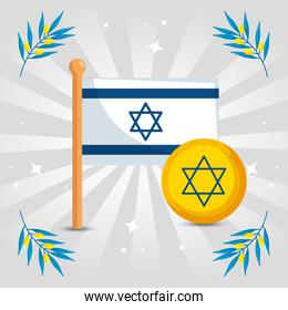 flag israel with olive branches decoration