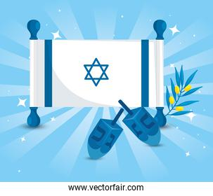 flag israel with dreidel games and olive branch