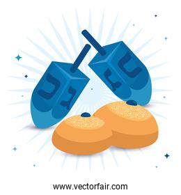 dreidel games traditional with round breads