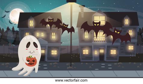 halloween dark scene with ghost and bats flying